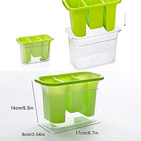 Table Green Party Flatware Spoon Fork Storage Basket For Kitchen Countertop Plastic Utensil Holder Outdoor Picnic Caddy Silverware Organizer With 3 Compartment And Cutlery Tray Drainer Set