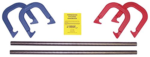 Horseshoes- Challenger- Universal Pro Model, made in USA! (Red & Blue- Complete Game Set (4 shoes, 2 stakes & rule book))
