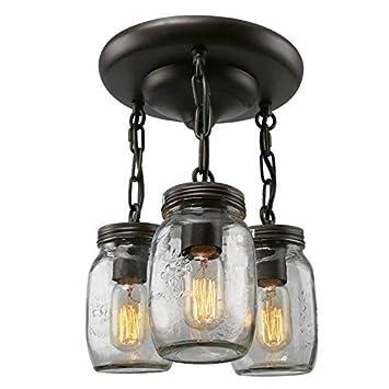 ZHANG NAN ○ Araña de Botellas de Vidrio Vintage Frasco de Vidrio Lámpara Colgante de 3 Luces Lámpara de Techo de araña Creativa ○: Amazon.es: Hogar