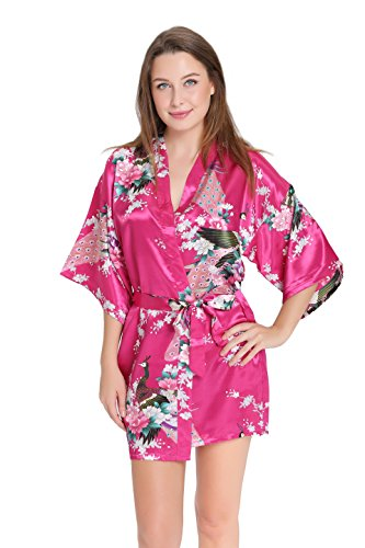 Wholesale Robes (Aibrou Women's Kimono Robe Satin Peacock Bathrobe Short Silk Bridal Robe)