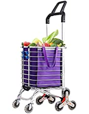 Troy Safety Folding Shopping Cart Portable Grocery Utility Lightweight Stair Climbing Cart with Rolling Swivel Wheels and Removable Waterproof Canvas Removable Bag (One, Purple)