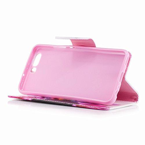 Yiizy Huawei P10 Funda, Petal Diseño Solapa Flip Billetera Carcasa Tapa Estuches Premium PU Cuero Cover Cáscara Bumper Protector Slim Piel Shell Case Stand Ranura para Tarjetas Estilo