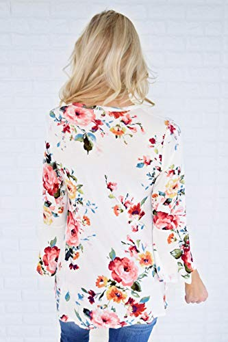 Blouse Casual Smalltile Hauts Jumpers Flare Printemps Imprim et Blanc T Automne Sleeve Pretty Fashion Shirts Femmes Tops r1HXRzWqwH