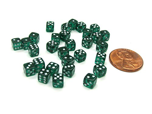 Koplow Games Set of 30 D6 5mm Transparent Rounded Corner Dice - Emerald with White Pips ()