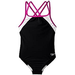 Speedo Girls Cross Back Splice 1 Piece Swimsuit