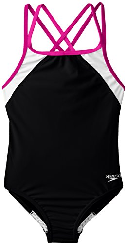 Speedo Big Girls Cross Back Splice 1 Piece, Black/Pink, 14
