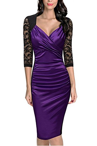 Elegante pizzo Surplice Sweetheart increspato bodycon donna... Purple