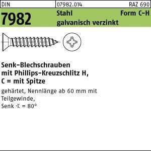 100 Senkkopf Blechschrauben DIN 7982 Stahl 3,5 x 22 C-H verzinkt
