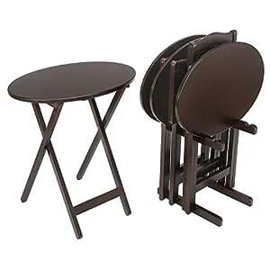 5 Piece Oval Tray Table Set - Espresso Bay Shore Collection 5 Piece Oval Tray Table Set- Espresso