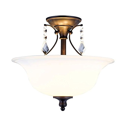 (World Imports 9768-88 Ethelyn Collection 2-Light Oil-Rubbed Bronze Semi-Flush Mount Light with Frosted Glass Shade)
