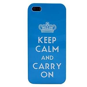 HC-Mantener la calma y continúe con el caso de la corona azul caja de plástico de color para el iphone 5/5s