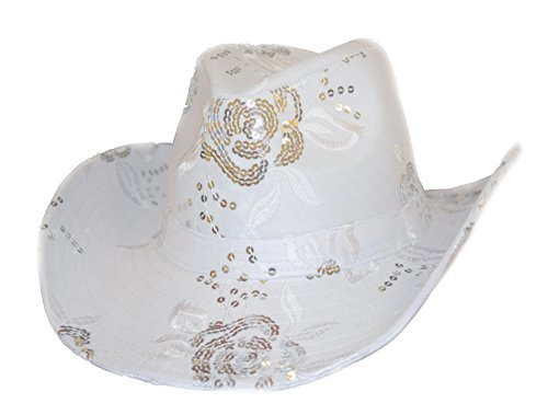 Sequin Floral Western Hat in White with Silver Sequins