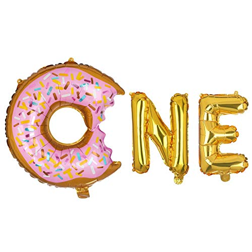 Big Donut 16 Inch Letter Foil Set Balloons First Birthday Donut Theme Donut One Donutsmash Party Supplies Baby Shower Donut Theme Birthday -