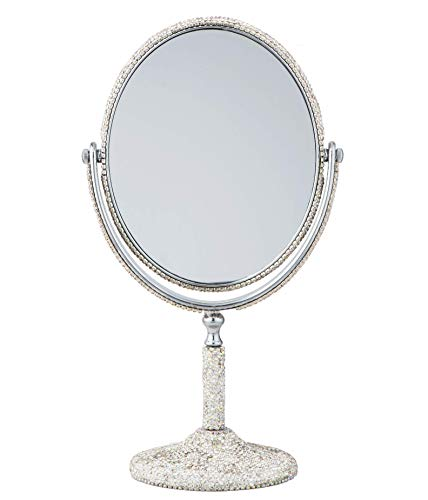 TISHAA Elegant Luxury Sophisticated Style Bling Bling Small White Crystal Diamond Studded Double Make Up Magnification Stand Vanity Mirror White