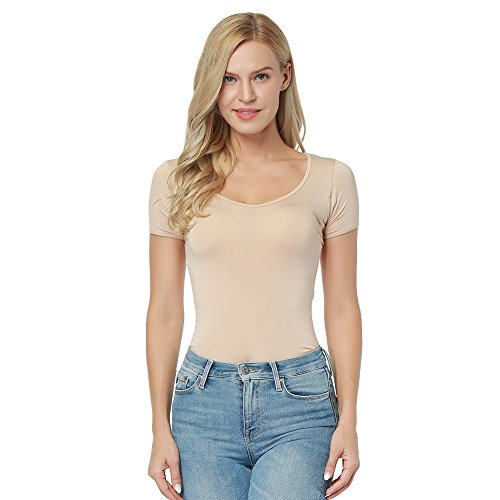(PARTY LADY Women's Ultra Light Cotton Compression Minimizer Crew Neck T-Shirt Size L Beige-01)