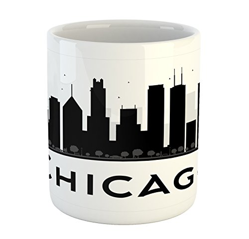 Ambesonne Chicago Skyline Mug, Simplistic Urban Silhouette Tourism Downtown Business City Buildings, Ceramic Coffee Mug Cup for Water Tea Drinks, Black and White
