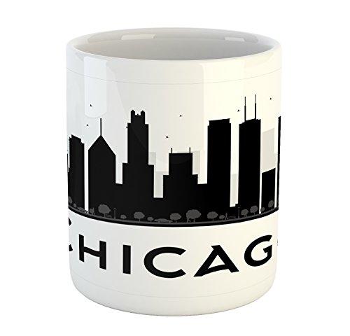 (Ambesonne Chicago Skyline Mug, Simplistic Urban Silhouette Tourism Downtown Business City Buildings, Printed Ceramic Coffee Mug Water Tea Drinks Cup, Black and)