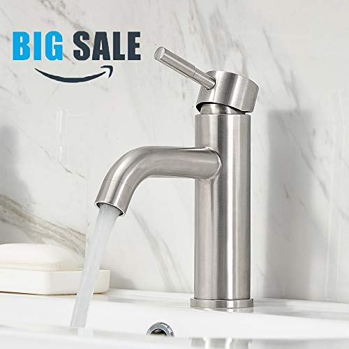 VCCUCINE Contemporary Single Handle Brushed Nickel Bathroom Faucet, Laundry Vanity Sink Faucet With Two 3/8