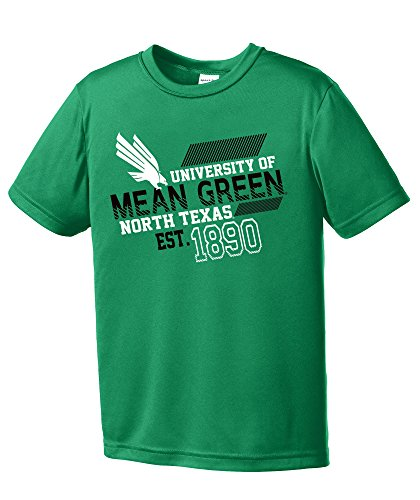 - NCAA North Texas Mean Green Youth Boys Offsides Short sleeve Polyester Competitor T-Shirt, Youth Large,Kelly