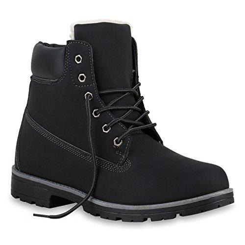 Stiefelparadies Herren Worker Boots Profilsohle Flandell Schwarz Weiss