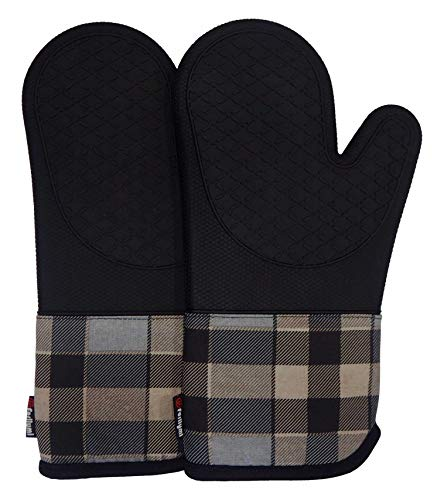 Heat Resistant Silicone Kitchen Oven Mitts for 500 Degrees with waterproof, Set of 2 Oven Gloves with cotton lining for BBQ Cooking set Baking Grilling Barbecue Microwave Machine Washable Black-1 (Two Oven Mitts)