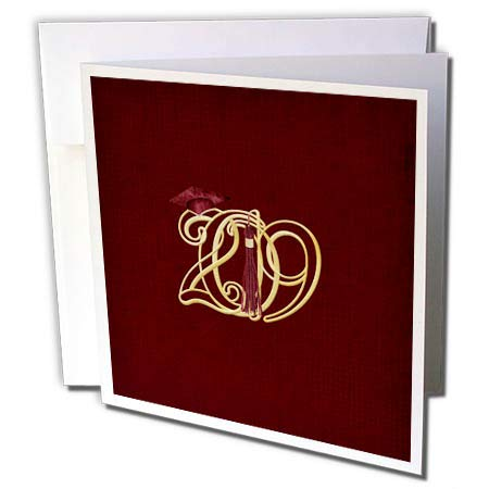 3dRose Beverly Turner Graduation Design - Intertwining 2019 with Graduation Cap and Tassel, Gold and Red Color - 12 Greeting Cards with envelopes (gc_301994_2)