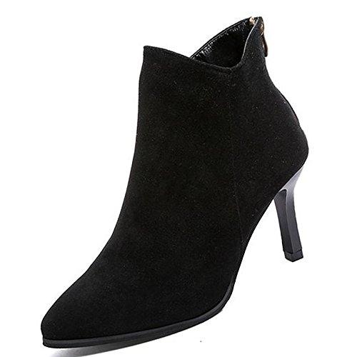 ZHZNVX HSXZ Zapatos de Mujer de Cuero de Nubuck Moda Otoño Invierno PU Confort Botas Botas Stiletto Talón Señaló Toe Botines/Botines de Color Beige Casual,Negro,US8/UE39/UK6/CN39