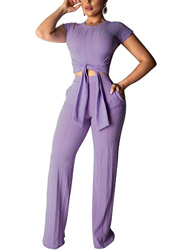 Succi Women 2 Piece Outfits Short Sleeve Round Neck Tie Front Elegant Slim Crop Top Shirts Bodycon High Waisted Wide Leg Pants Jumpsuits Rompers Set Clubwear Purple ()