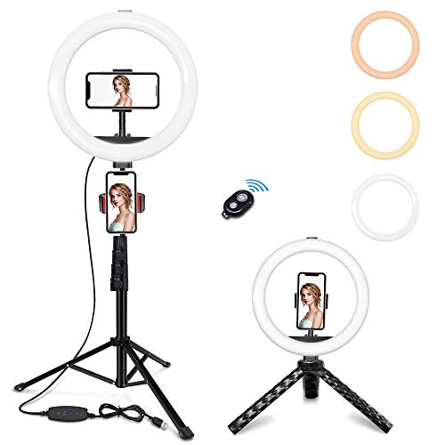 Lersyco 10'' Selfie Ring Light with 2 Phone Holders and Desktop Stand, LED Circle Lights with 63'' Tripod Stand for Live Stream/Makeup/YouTube Video/TikTok, Compatible with iPhone, Android Phone