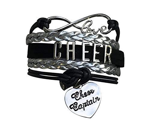 Sportybella Cheer Captain Charm Bracelet- Girls Captain Cheerleading Bracelet- Cheer Jewelry for Cheerleader (Black/Silver)