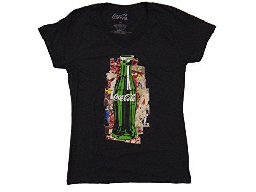 Price comparison product image Coca-Cola MAD Engine Junior Girls Classic Coke Bottle Black V-Neck T-Shirt (L)