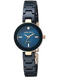 Women's Quartz Metal and Ceramic Dress Watch, Color:Blue (Model: AK/2660NVRG)