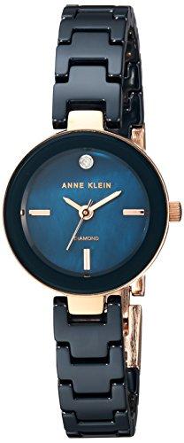 Anne Klein Women's Quartz Metal and Ceramic Dress Watch, Color:Blue (Model: AK/2660NVRG)