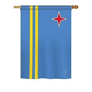 """Brisa Decor–Aruba banderas del mundo–día impresiones decorativo vertical casa bandera 28""""X 40"""" impreso en EE. UU."""