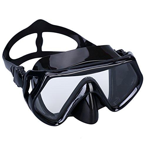 SUPERTRIP Snorkeling Freediving Mask Adult Panoramic Scuba Diving Goggles Black