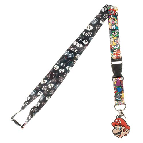 Nintendo Super Mario Characters Reversible Breakaway Keychain Lanyard with ID Holder, Rubber Mario Charm and Collectible Sticker