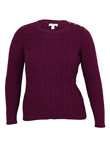 Charter Club Long Sleeve Cable Knit Sweater, Acai Berry (0X) ()