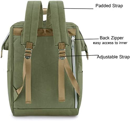 "Himawari Travel Backpack Large Diaper Bag School multi-function Backpack for Women&Men | 17.7""x7.9""x11.8"" (Olive green&plus)"