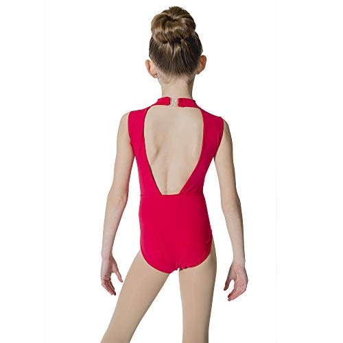 HDW DANCE Kids Girls Ballet Dance Leotard Lace Turtle Neck Open Back Cotton ... (Medium, Red)