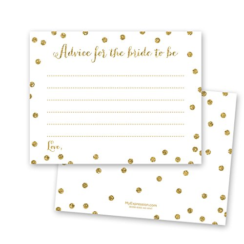 48 Cnt Faux Gold Glitter Graphic Dots Bridal Advice Cards (White)