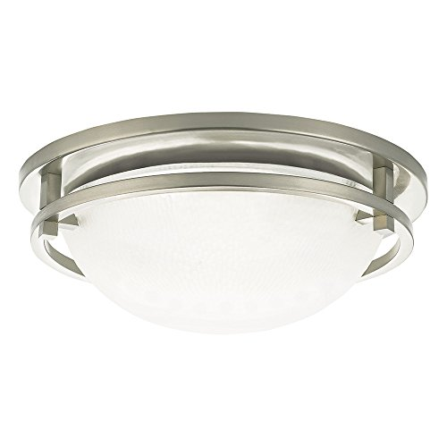 (Sea Gull Lighting 75114-962 Eternity Two-Light Flush Mount Ceiling Light with Clear Highlighted Satin Etched Glass Diffuser, Brushed Nickel Finish)