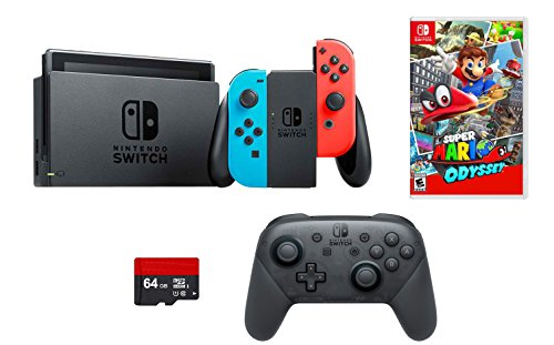 Nintendo Switch 4 items Bundle:Nintendo Switch 32GB Console Neon Red and Blue Joy-con,64GB Micro SD Memory Card and an Extra Nintendo Switch Pro Wireless Controller, Super Mario Odyssey