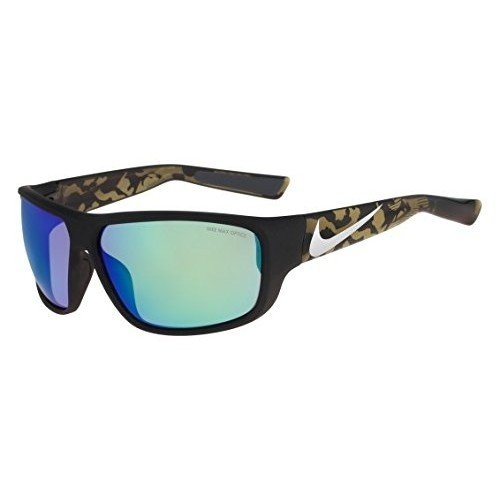 Nike Golf Mercurial 8.0 R Sunglasses, Matte Black/Silver/Cargo Khaki Camo Frame, Grey with Ml Green Flash - Nike 8.0 Mercurial