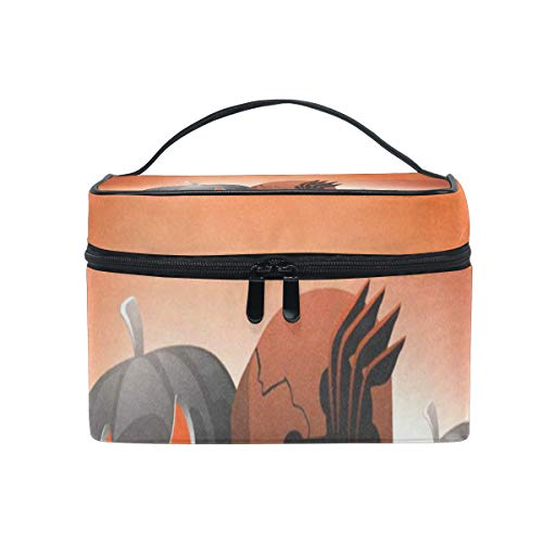 Travel Cosmetic Bag Scary Pumpkins On Shiny Halloween Toiletry Makeup Bag Pouch Tote Case Organizer Storage For Women Girls ()