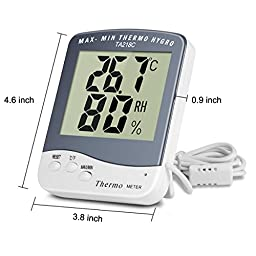 BonyTek Digital Indoor Outdoor Thermometer and Humidity Meter Home Weather Monitoring Station with Large LCD Display & Max Min Thermometer Humidity Memory & 5Ft External Sensor Probe