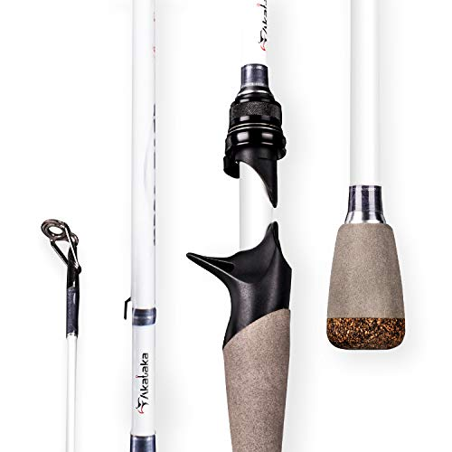 Akataka M'Wave Bass Fishing Rod - 2pcs Collaspible Casting Rod Spinning Rod with 24Ton Carbon Fiber,Durable Reel Seat, Efficient Heat Dissipation Guide (Casting-7'1