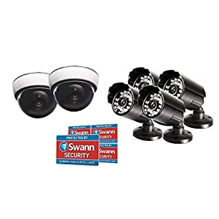 Swann Fake Security Camera Kit, Home Surveillance with 4 Indoor/Outdoor Bullet Cameras, 2 Dome Dummy Cameras with Flashing Light, and 5 Security Sticker Window Decals