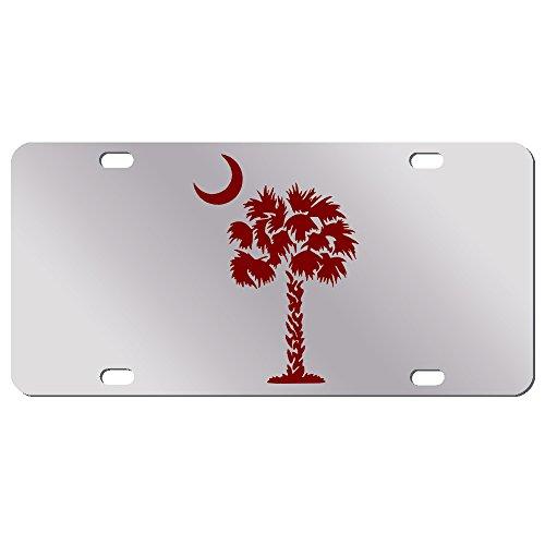 Burgundy Palm Tree Crescent Moon Mirror License Plate South Carolina Beach Logo Car Tag (Palm Tree Moon)