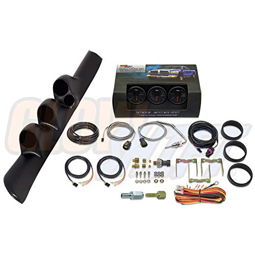 GlowShift Diesel Gauge Package for 1998-2002 Dodge Ram Cummins 2500 3500 - Black 7 Color 60 PSI Boost, 1500 Pyrometer EGT & 30 PSI Fuel Pressure Gauges - Black Triple Pillar Pod w Speaker Cutout