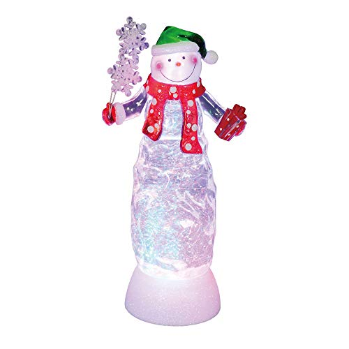 """Northlight 11"""" Swirling Glitter LED Lighted Snowman with Gifts Table Top Christmas Decoration"""